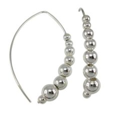 Sterling Silver 45x6mm Multi Ball Fancy Hook Earrings