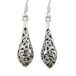 Sterling Silver 21x7mm Filigree Teardrop Drop Earrings