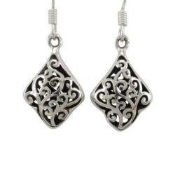 Sterling Silver 15x12mm Filigree Drop Earrings