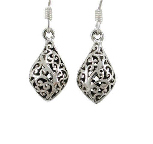 Sterling Silver 14x9mm Filigree Drop Earrings