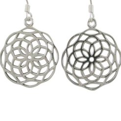 Sterling Silver 20mm Flower Of Life (sacred Geometry) Drop Earrings
