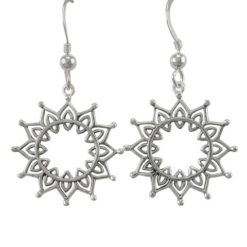 Sterling Silver 21mm Bohemian Style Sun Drop Earrings