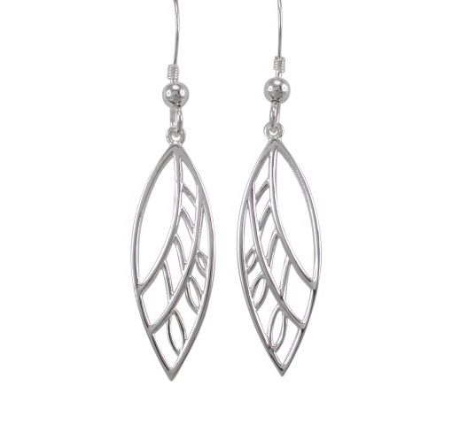 Sterling Silver 28x10mm Marquise Leaf Style Drop Earrings