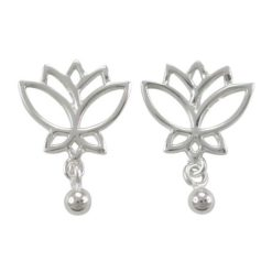 Sterling Silver 18x13mm Lotus Flower & Dangling Ball Stud Earrings