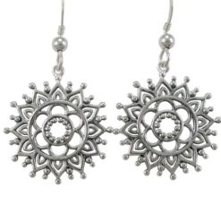 Sterling Silver 21mm Bohemian Style Flower Drop Earrings