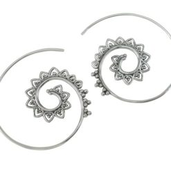 Sterling Silver 35mm Bohemian Style Spiral Hoop Earrings