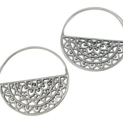 Sterling Silver 29mm Bohemian Style Half Circle Hoop Earrings
