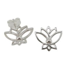 Sterling Silver 12mm Lotus Flower Stud Earrings