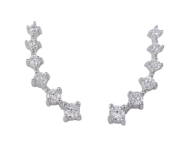 Sterling Silver 24x4mm White Cubic Zirconia  Up The Ear Earrings