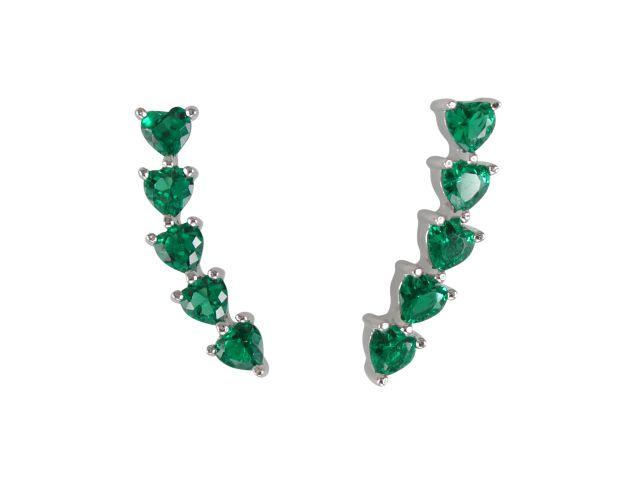 Sterling Silver 18x3mm Green Cubic Zirconia Heart Up The Ear Earrings