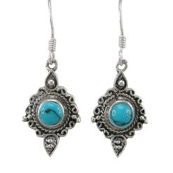 Sterling Silver 18x12mm Blue Turquoise Filigree Drop Earrings