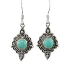 Sterling Silver 18x12mm Green Turquoise Filigree Drop Earrings