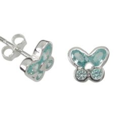 Sterling Silver 8mm Aqua Cubic Zirconia Butterfly Stud Earrings