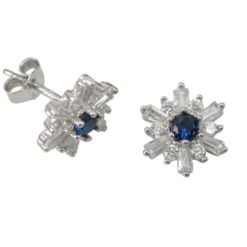 Sterling Silver 9mm Blue & White Cubic Zirconia Stud Earrings