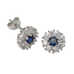 Sterling Silver 8mm Blue & White Cubic Zirconia Stud Earrings