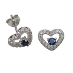 Sterling Silver 9x8mm Blue & White Cubic Zirconia Heart Stud Earrings
