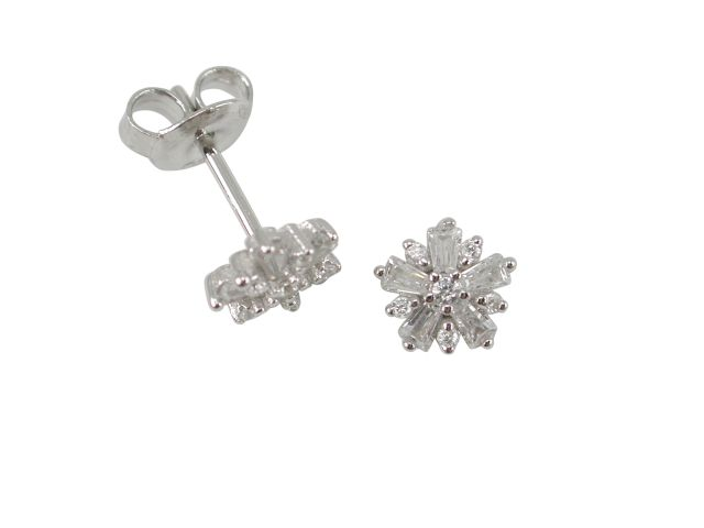 Sterling Silver 7mm White Cubic Zirconia Snowflake Stud Earrings