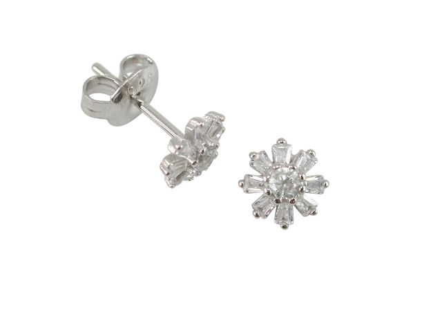 Sterling Silver 6.5mm White Cubic Zirconia Tapered Baguette Flower Stud Earrings