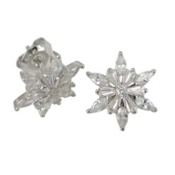 Sterling Silver 14mm Marquise & Baguette White Cubic Zirconia Star Flower Cluster Stud Earrings
