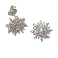 Sterling Silver 10mm White Cubic Zirconia Snowflake Cluster Stud Earrings