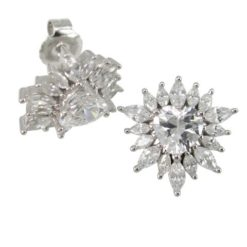 Sterling Silver 14mm Marquise & Heart White Cubic Zirconia Cluster Stud Earrings