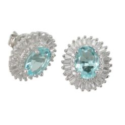 Sterling Silver 14x12mm Oval Aqua  Cubic Zirconia & Tapered Baguette White Cubic Zirconia Cluster Stud Earrings