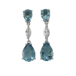 Sterling Silver 28x7mm Teardrop Denim Blue & White Marquise Cubic Zirconia Stud Earrings
