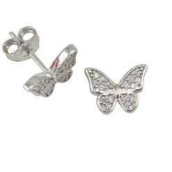 Sterling Silver 10x8mm White Cubic Zirconia Butterfly Stud Earrings