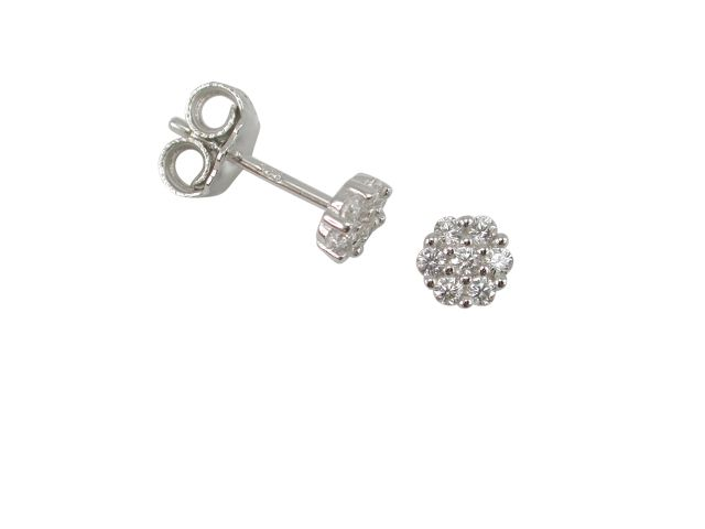 Sterling Silver 5mm White Cubic Zirconia Cluster Stud Earrings