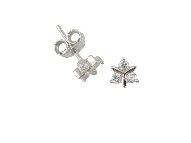 Sterling Silver 6mm White Cubic Zirconia Triangle Cluster Stud Earrings