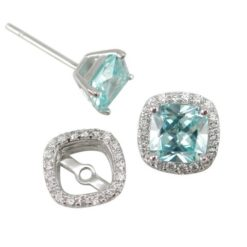 Sterling Silver 5mm Cushion Aqua Cubic Zirconia & 9mm White Cubic Zirconia Removeable Surround  Stud Earrings