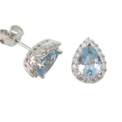 Sterling Silver 10x8mm Denuim Blue Cubic Zirconia Teardrop Stud Earrings