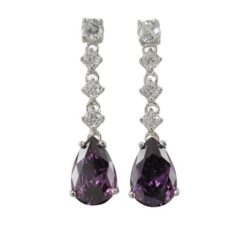 Sterling Silver 32x8mm Purple Teardrop Cubic Zirconia Stud Earrings
