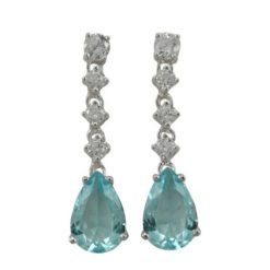 Sterling Silver 32x8mm Aqua Teardrop Cubic Zirconia Stud Earrings