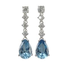 Sterling Silver 32x8mm Denim Blue Teardrop Cubic Zirconia Stud Earrings