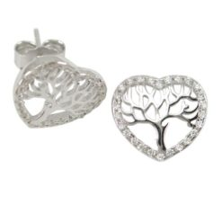 Sterling Silver 11mm White Cubic Zirconia Heart Tree Of Life Stud Earrings