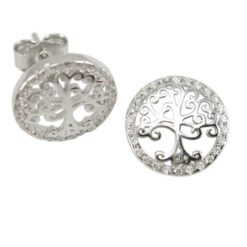 Sterling Silver 11mm White Cubic Zirconia Tree Of Life Stud Earrings