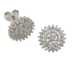 Sterling Silver 11mm Round White Cubic Zirconia Cluster Stud Earrings