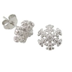 Sterling Silver 10mm White Cubic Zirconia Snowflake Stud Earrings
