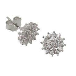 Sterling Silver 9mm White Cubic Zirconia Cluster Stud Earrings