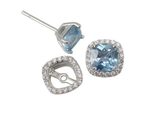 Sterling Silver 5mm Cushion Denim Blue Cubic Zirconia & 9mm White Cubic Zirconia Removeable Surround  Stud Earrings