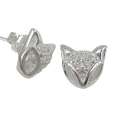 Sterling Silver 12mm White Cubic Zirconia Cat Face Stud Earrings