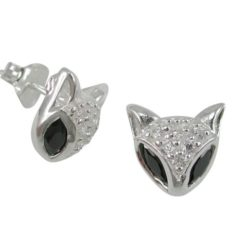 Sterling Silver 12mm Black & White Cubic Zirconia Cat Face Stud Earrings