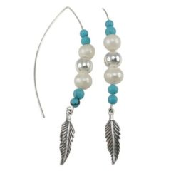 Sterling Silver 60x6mm Created Pearl & Blue Turquoise Ball & Feather Fancy Hook Earrings
