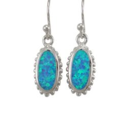 Sterling Silver 16x9mm Oval Blue Synthetic Opal Drop Earrings