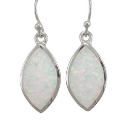 Sterling Silver 20x12mm Marquise White Synthetic Opal Drop Earrings