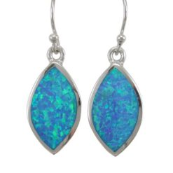 Sterling Silver 20x12mm Marquise Blue Synthetic Opal Drop Earrings