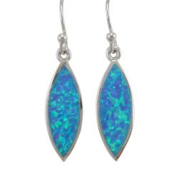 Sterling Silver 22x8.5mm Marquise Blue Synthetic Opal Drop Earrings