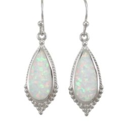 Sterling Silver 24x11mm Teardrop White Synthetic Opal Drop Earrings