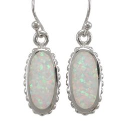 Sterling Silver 18x10mm Oval White Synthetic Opal Drop Earrings